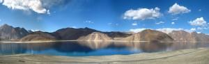 A panoramic view of the Pangong Tso lake in Ladakh