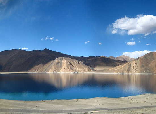 A panoramic view of the Pangong Tso lake in Ladakh