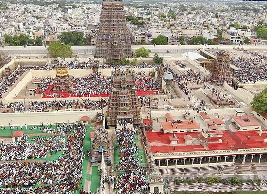 An aerial view of Madurai city from atop of Meenakshi Amman temple