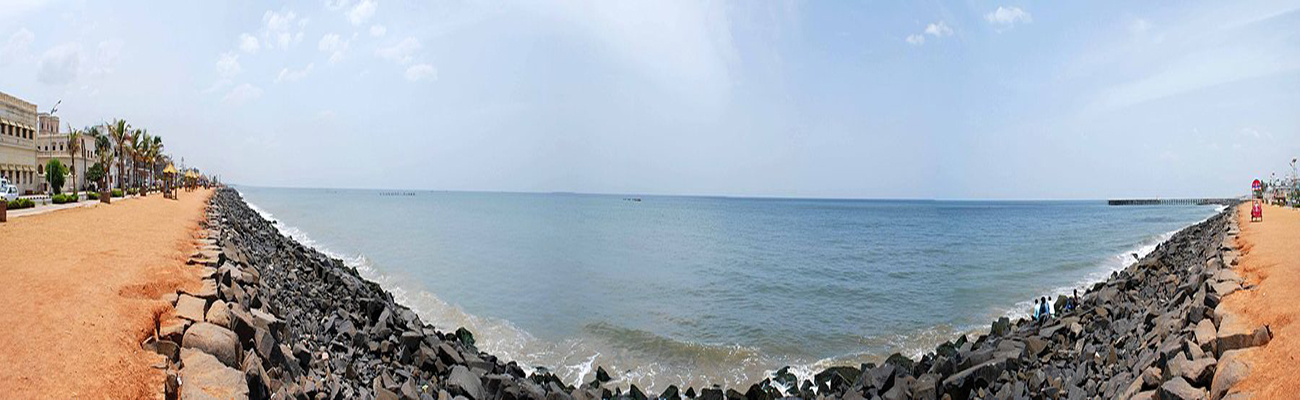 Beach Promenade at Pondicherry panorama