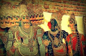 Hanuman and Ravana in Tholu Bommalata the shadow puppet