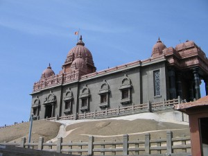 Looking up from the base of the Vivekananda Rock Memorial
