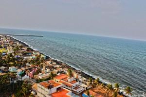 Rock beach aerial view