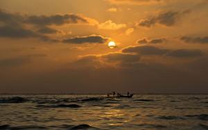 Sunrise at Chennai Marina beach
