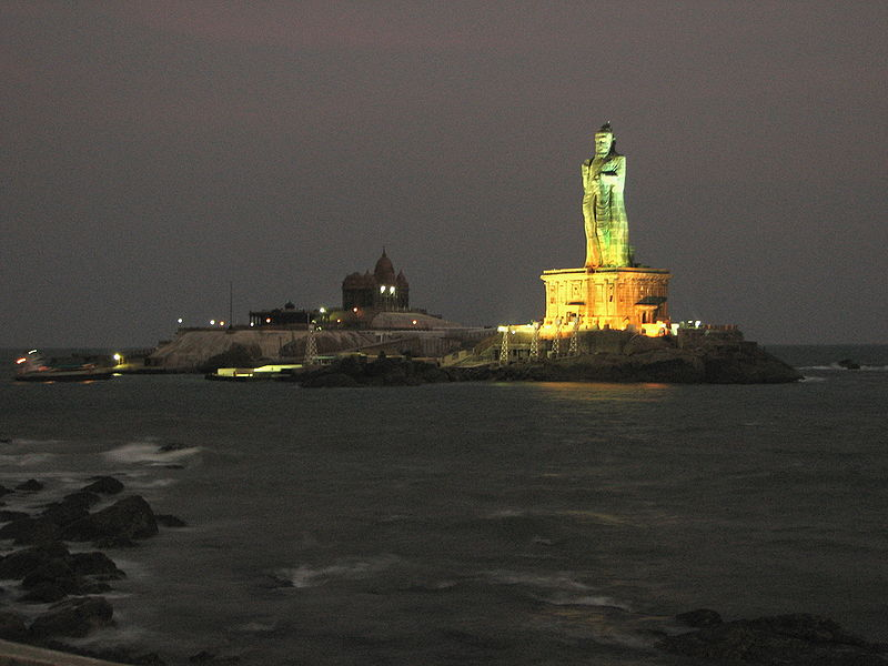 Thiruvalluvar_Statue_at_Night