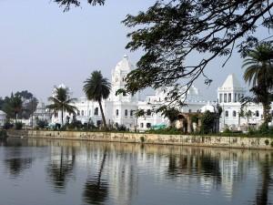 Ujjayanta Palace as seen from the Rajbari Lakes