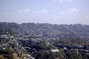 View of the ridgetop city of Aizawl state capital of Mizoram