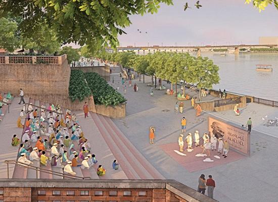 Visualisation of Gandhi Ashram Plaza in the evening web