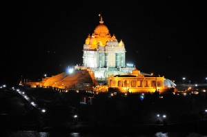 Vivekananda Memorial by the night Kanyakumari Tamil Nadu