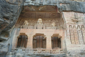 Rock cut Jain Statues in the Gwalior Fort