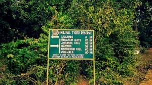 Signboard inside Simlipal National Park