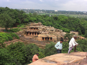 the Udayagiri caves from Khandagiri in Bhubaneswar e1465461798741