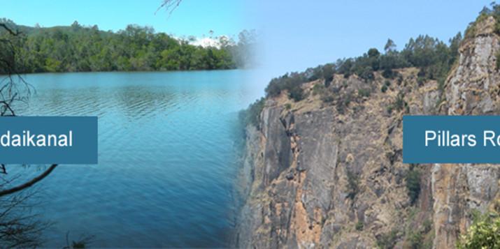 pillars rock and berijam lake in kodaikanal